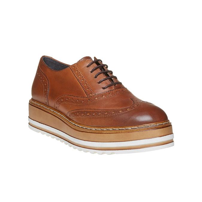 Chaussures en cuir à flatform bata, Brun, 524-3255 - 13