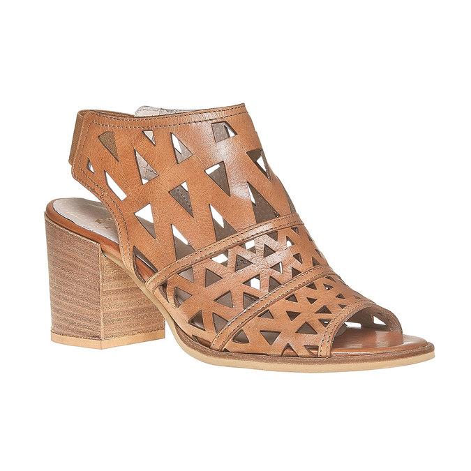 Sandale en cuir à talon large bata, Brun, 764-3532 - 13