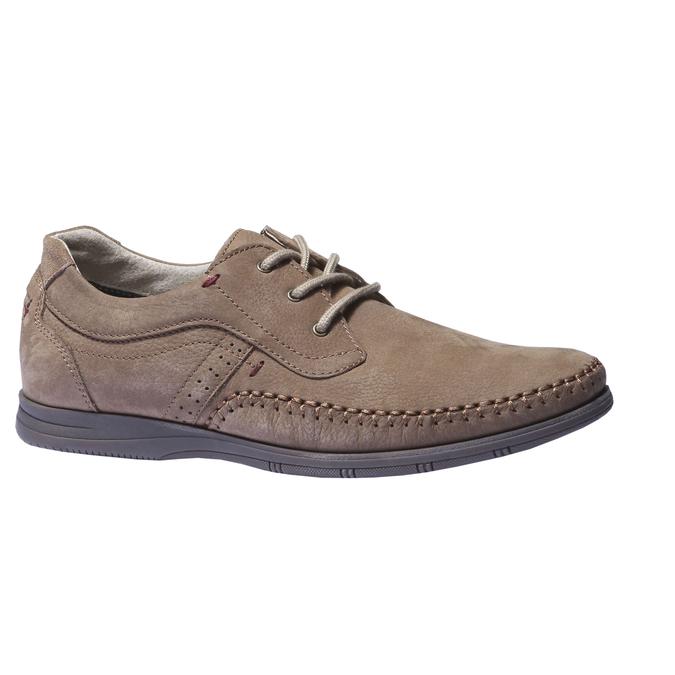 Chaussures de sport lacées en cuir bata, Brun, 856-4259 - 13