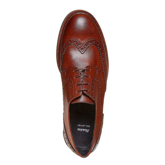 Chaussure lacée en cuir femme à semelle épaisse bata, Brun, 524-3356 - 19