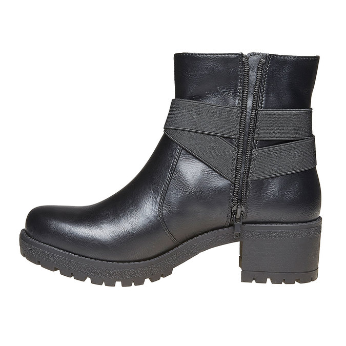 Bottines à talon large bata, Noir, 691-6260 - 19