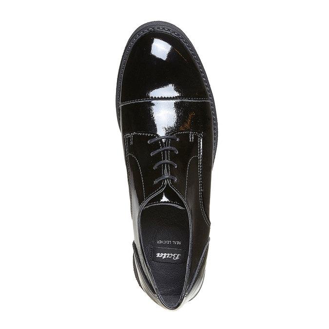 Chaussure lacée vernie femme bata, Noir, 521-6317 - 19