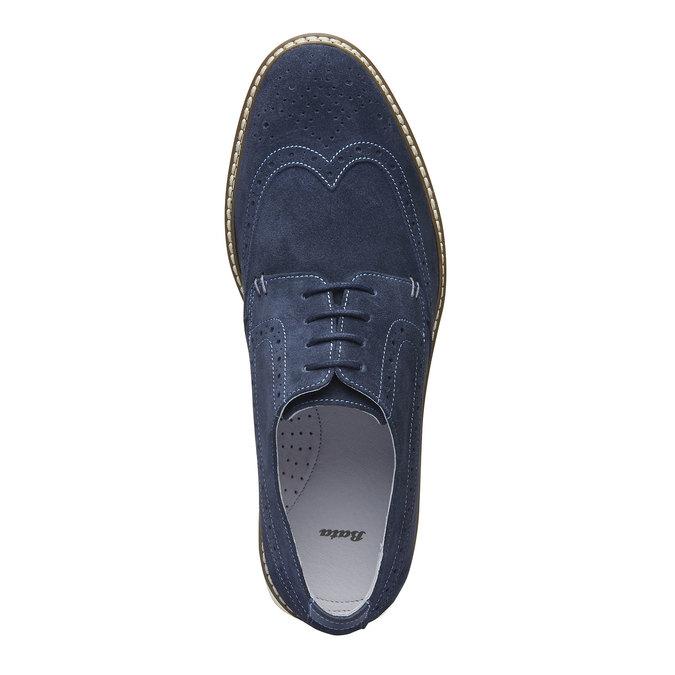 Chaussure lacée en cuir avec décoration Brogue bata, Violet, 823-9603 - 19