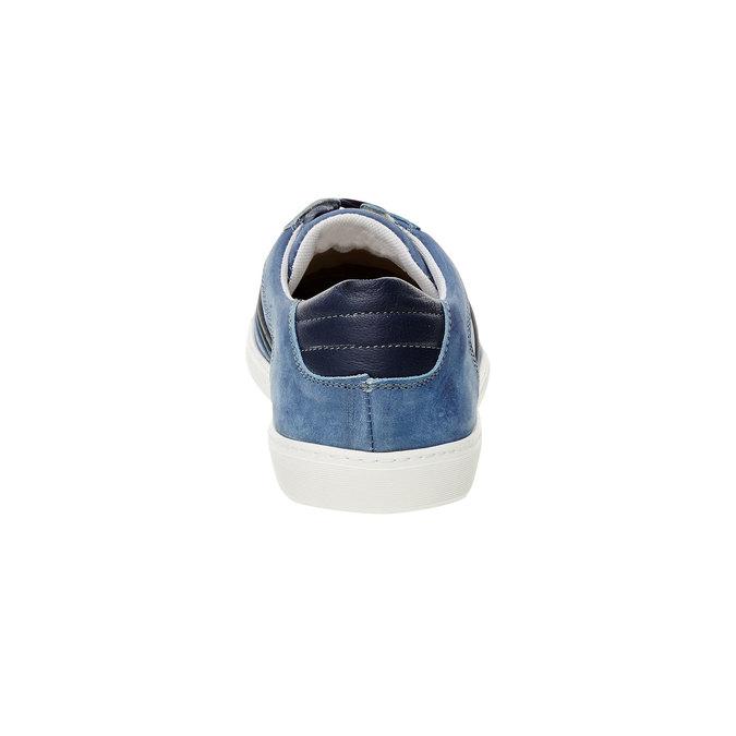 Basket décontractée en cuir chamoisé bata, Bleu, 846-9638 - 17