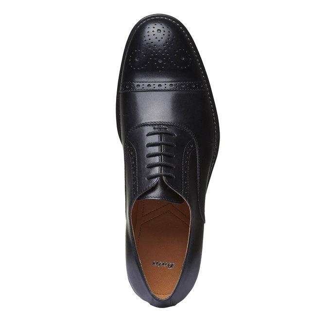 Chaussure lacée en cuir avec décoration Brogue bata, Noir, 824-6803 - 19