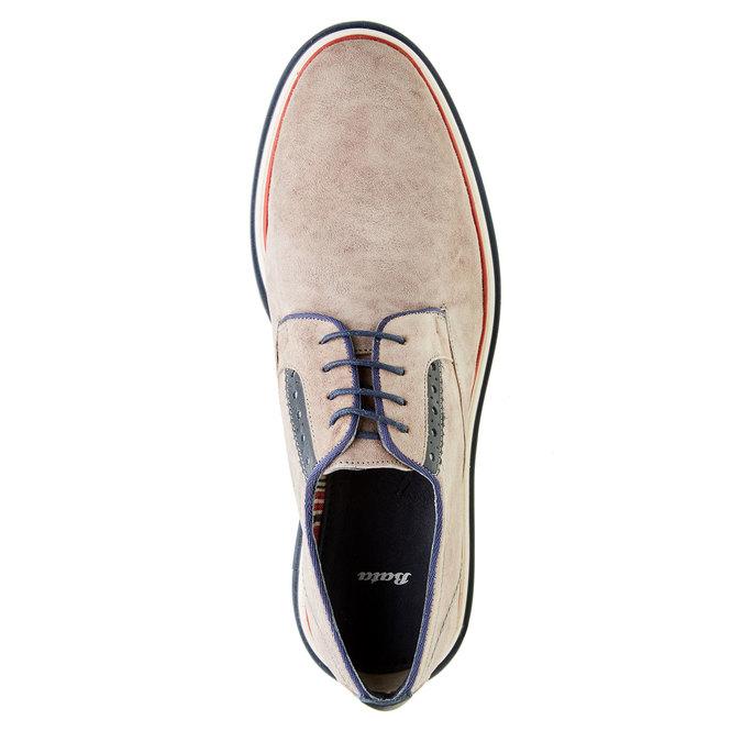 Chaussure lacée en cuir pour homme style Derby bata, Beige, 823-2814 - 19