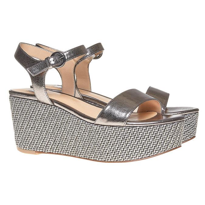 Sandale métallisée à plateforme bata, Blanc, 761-1530 - 26