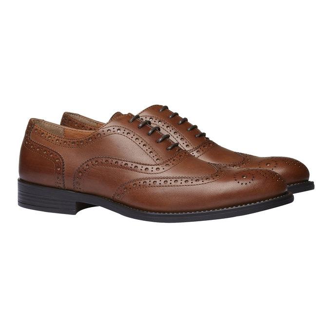 Chaussure lacée en cuir avec décoration Brogue bata, Brun, 824-3801 - 26