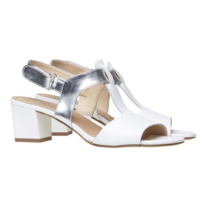 Sandale blanche pour femme à talon large bata, Blanc, 764-1551 - 26