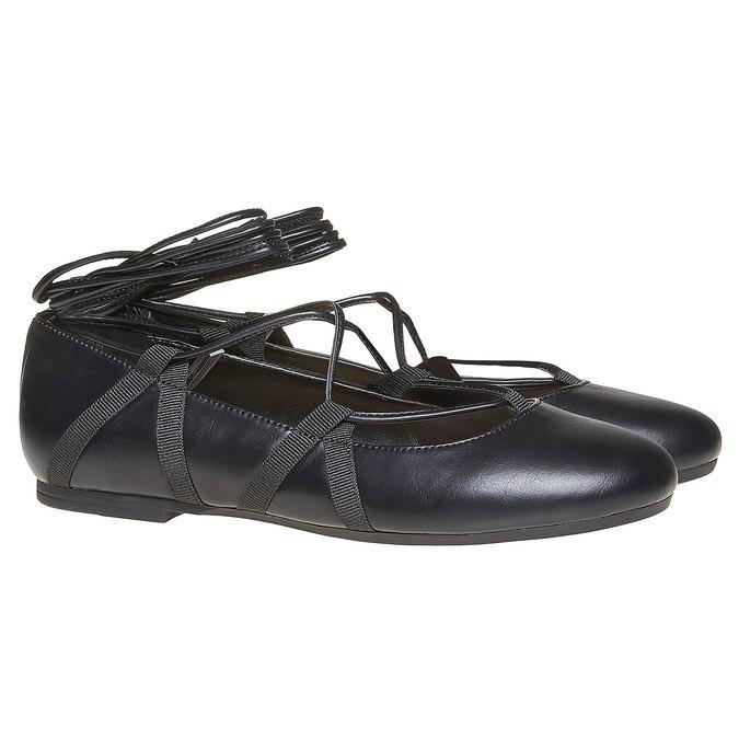 Ballerines femme avec laçage bata, Noir, 521-6142 - 26