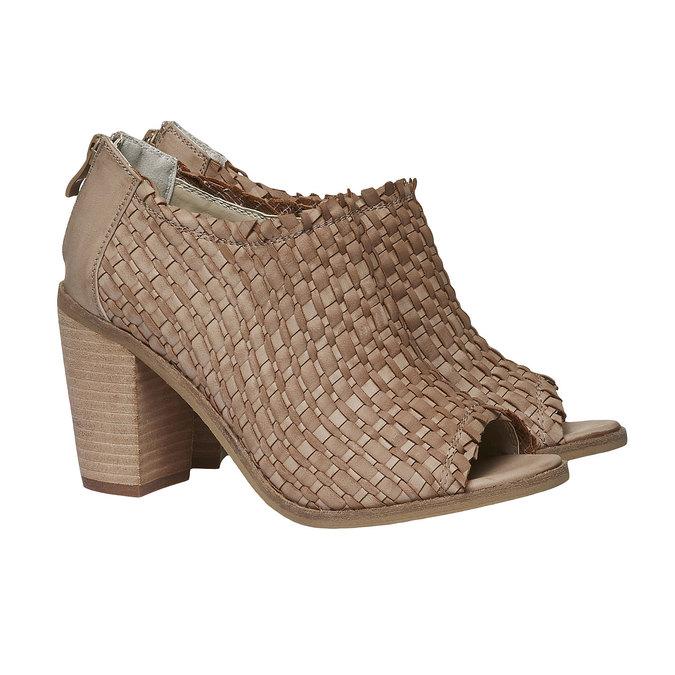 Sandale à bout ouvert bata, Brun, 721-3945 - 26