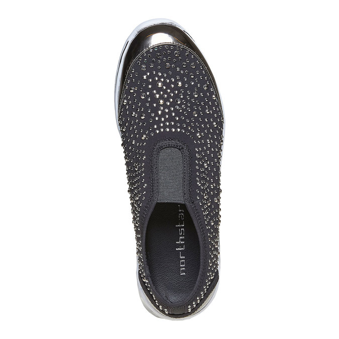 Tennis Slip-on avec petites pierres north-star, Gris, 539-2109 - 19