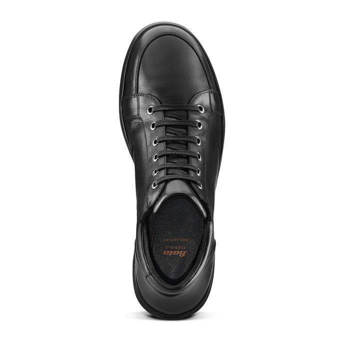 Tennis en cuir noir flexible, Noir, 844-6205 - 17
