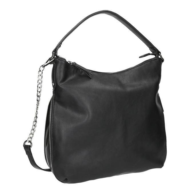 Sac Hobo avec zip décoratif bata, Noir, 961-6609 - 13