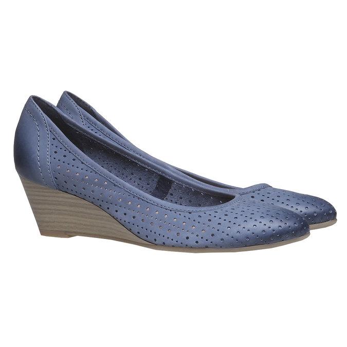 Escarpin compensé en cuir bata, Bleu, 624-9385 - 26