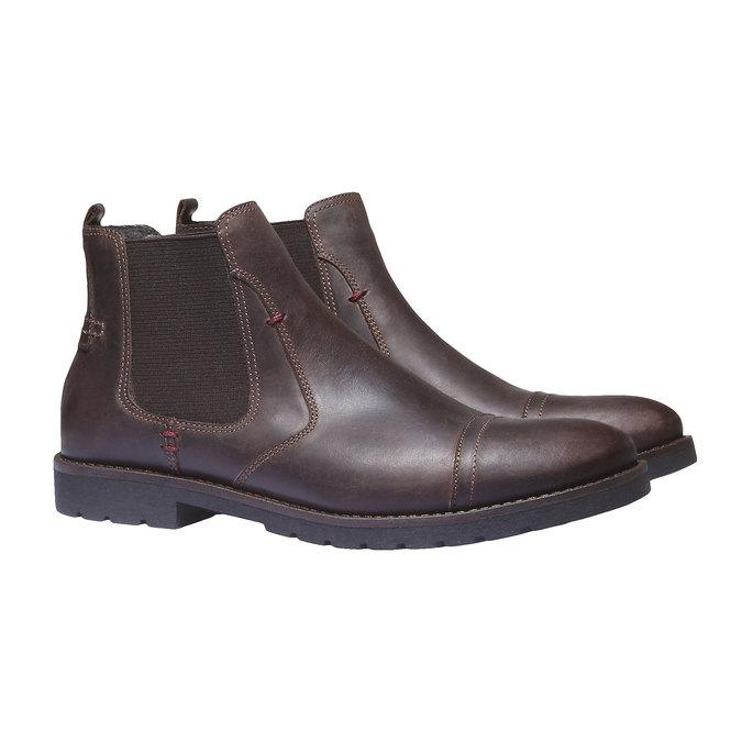 Bottines en cuir de style Chelsea bata, Brun, 894-4197 - 26