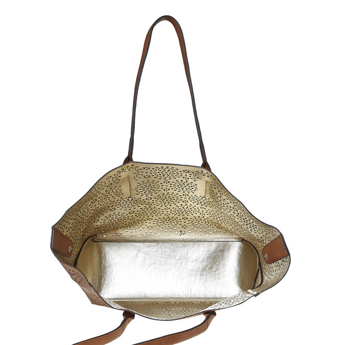 Sac à main marron avec perforations bata, Brun, 961-3368 - 19