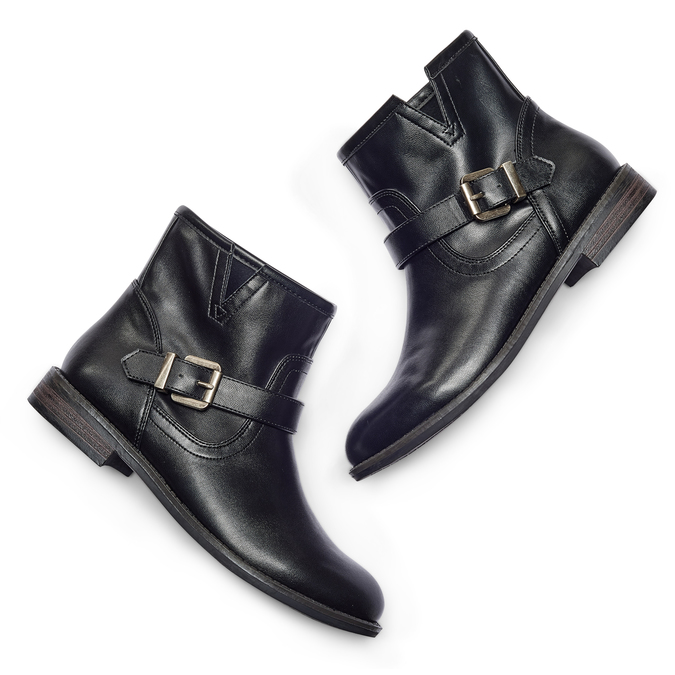Chaussures motard pour femme bata, Noir, 591-6368 - 26