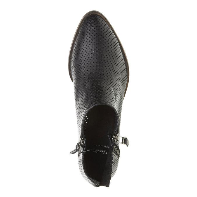 Bottine en cuir avec perforation bata, Noir, 594-6400 - 19
