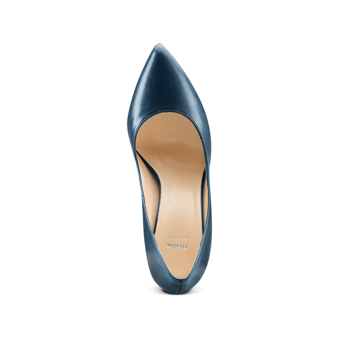 Escarpin pointu en cuir bleu bata, Violet, 724-9607 - 17