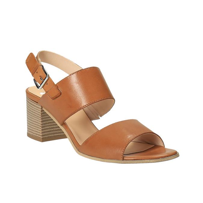Sandale en cuir à talon large bata, Brun, 664-3205 - 13