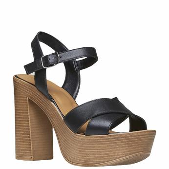 Sandale femme à talon massif bata, Noir, 764-6511 - 13