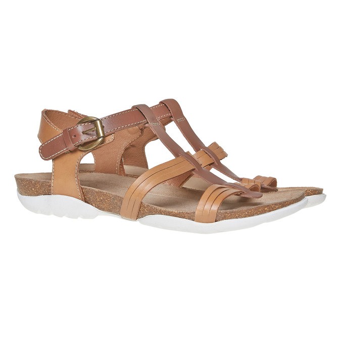 Sandale en cuir femme weinbrenner, Brun, 564-3315 - 26