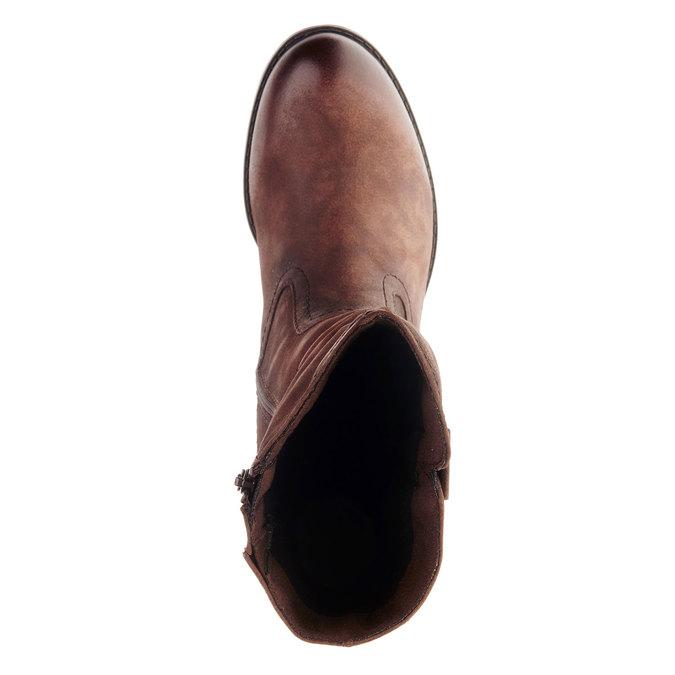 Botte en cuir à talon stable bata, Brun, 696-4127 - 19