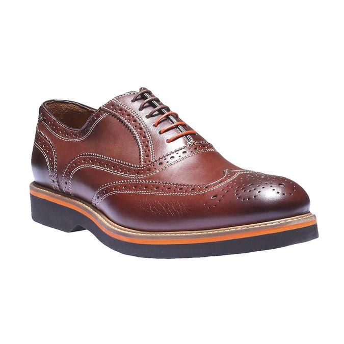 Chaussures en cuir Oxford à semelle contrastée shoemaker, Brun, 824-4132 - 13