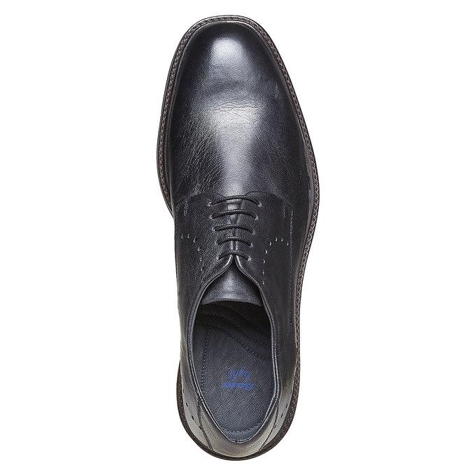 Chaussure lacée en cuir à semelle épaisse bata-light, Noir, 824-6643 - 19