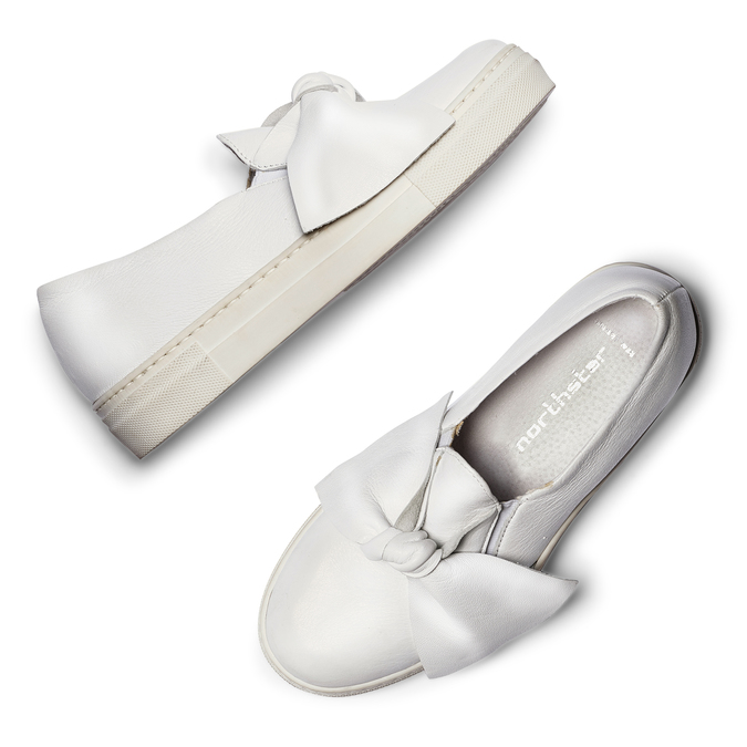 Slip-on en cuir à nœud north-star, Blanc, 514-1264 - 19