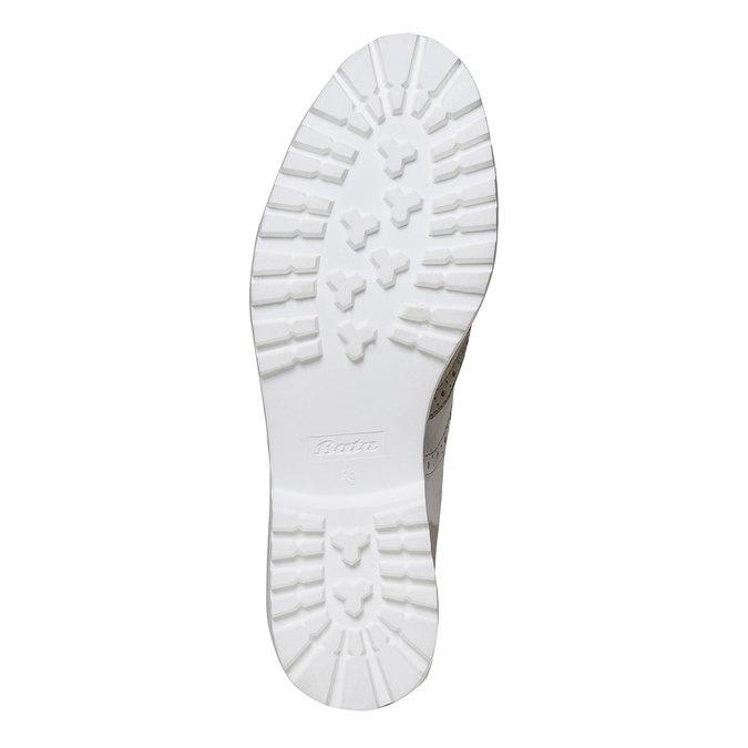 Chaussure lacée en cuir décoration Brogue bata, Gris, 524-2129 - 26
