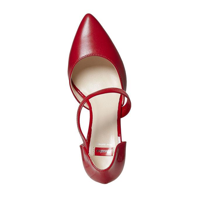 Escarpin en cuir avec bride bata, Rouge, 724-5904 - 19