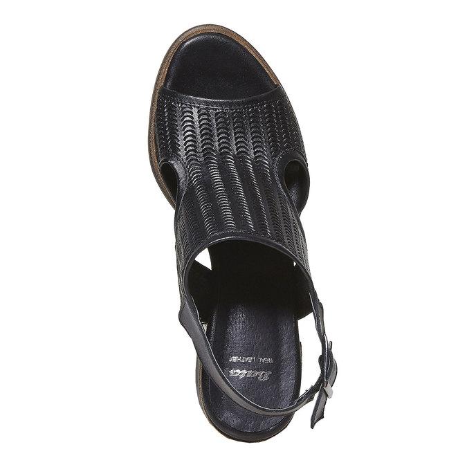 Sandale perforée en cuir bata, Noir, 764-6515 - 19