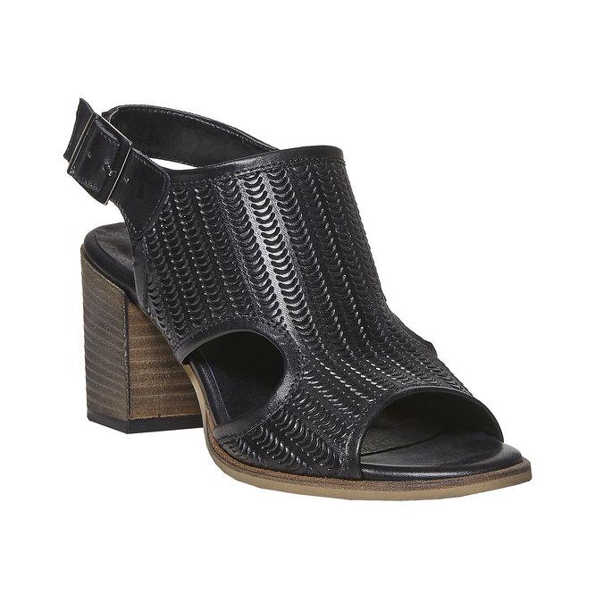 Sandale perforée en cuir bata, Noir, 764-6515 - 13