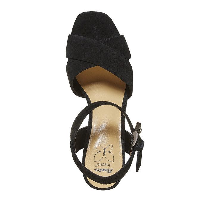 Sandale noire à talon effet bois insolia, Noir, 763-6502 - 19