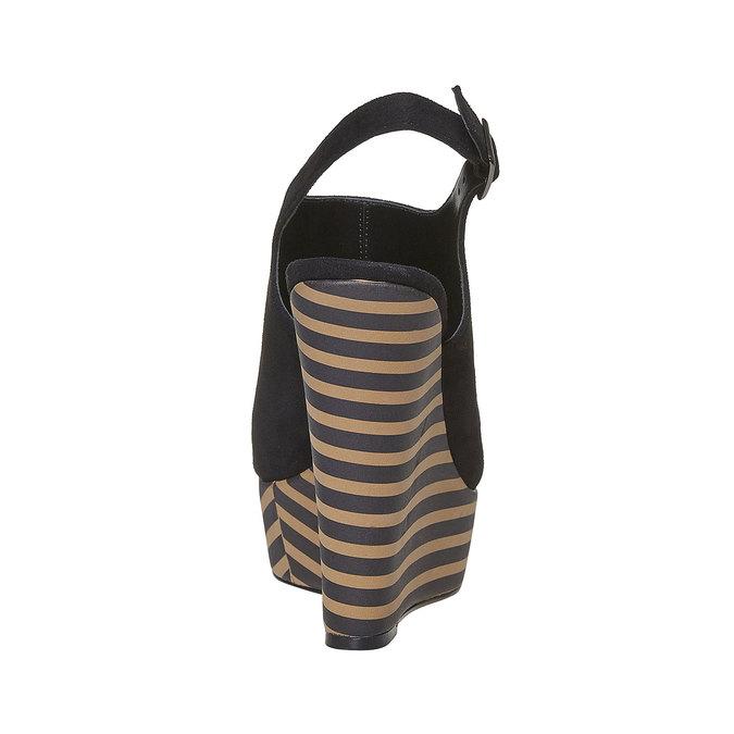 Sandale à plateforme rayée insolia, Noir, 769-6563 - 17