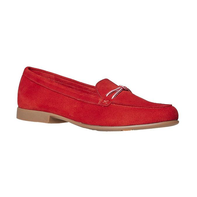 Mocassin à lacet en cuir pour femme flexible, Rouge, 516-5276 - 13