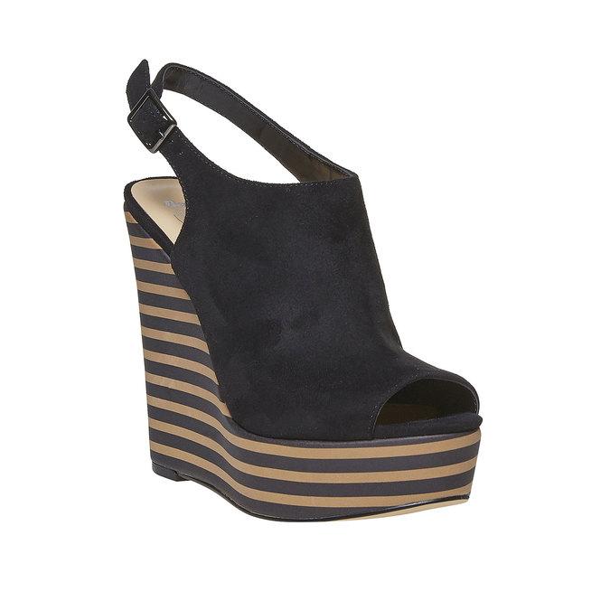 Sandale à plateforme rayée insolia, Noir, 769-6563 - 13