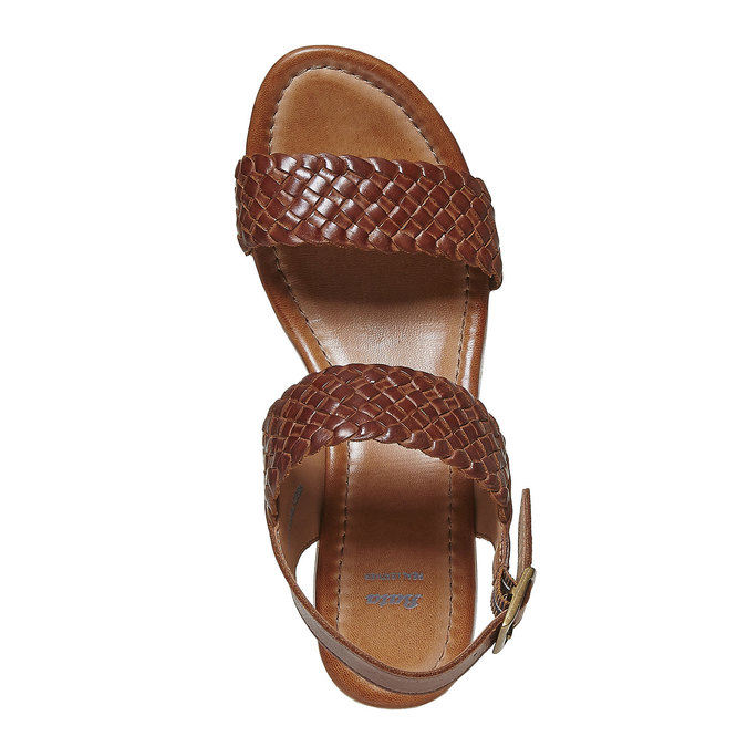 Sandale femme à plateforme effet bois bata, Brun, 764-3586 - 19
