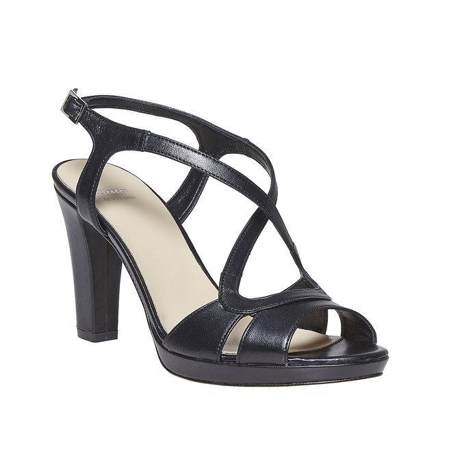Sandale en cuir femme bata, Noir, 764-6587 - 13
