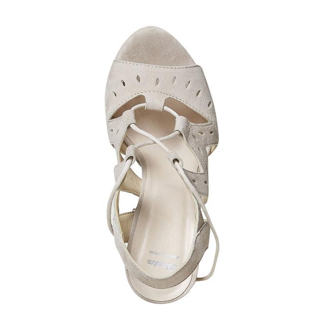 Sandale à lacet en cuir femme bata, Jaune, 763-8580 - 19