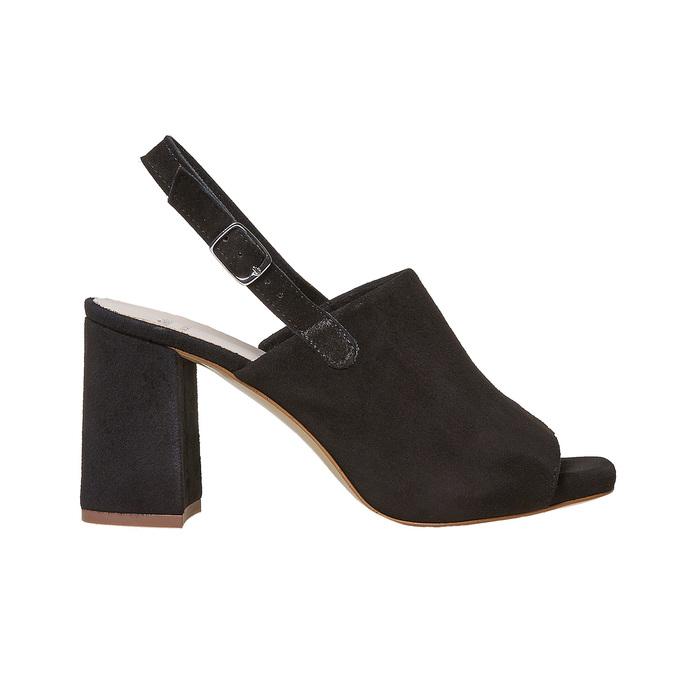 Sandale en cuir à talon stable bata, Noir, 763-6577 - 15