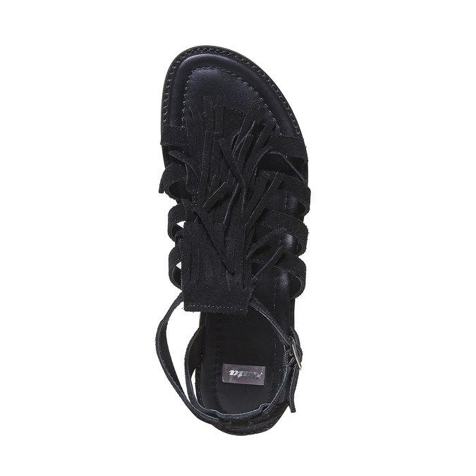Sandale en cuir à franges pour femme bata, Noir, 563-6442 - 19