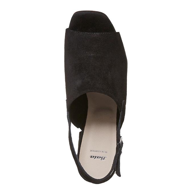 Sandale en cuir à talon stable bata, Noir, 763-6577 - 19