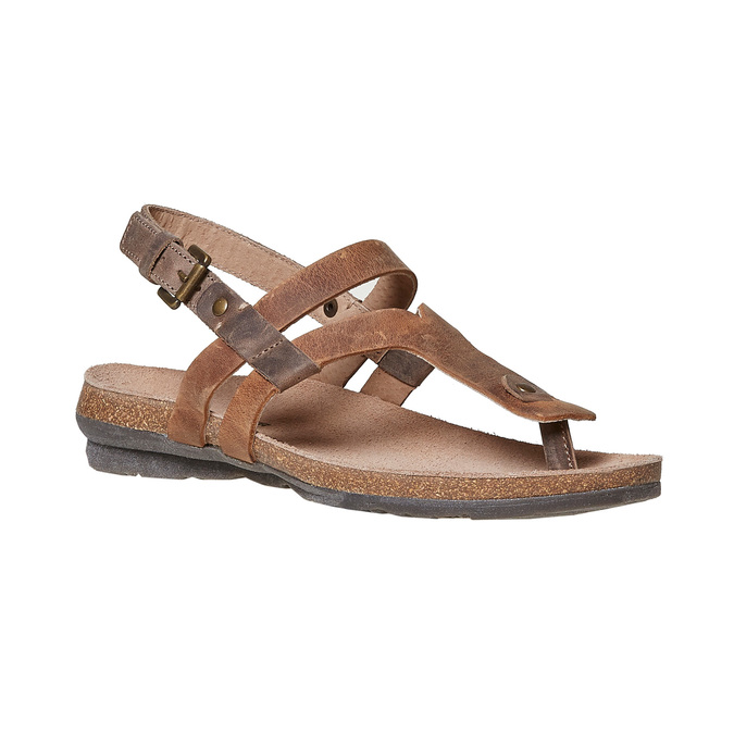 Sandale en cuir femme weinbrenner, Brun, 566-4449 - 13