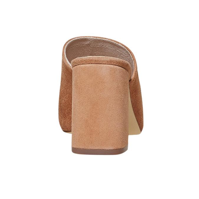Mule à talon en cuir pour femme bata, Brun, 763-3578 - 17