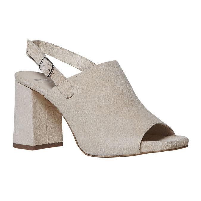 Sandale en cuir à talon massif bata, 763-8577 - 13