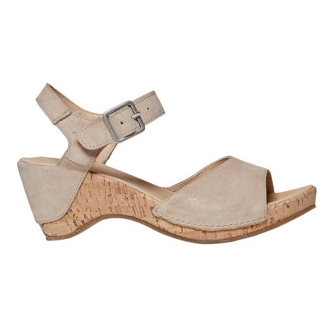 Sandale en cuir à talon compensé bata, Jaune, 764-8598 - 15