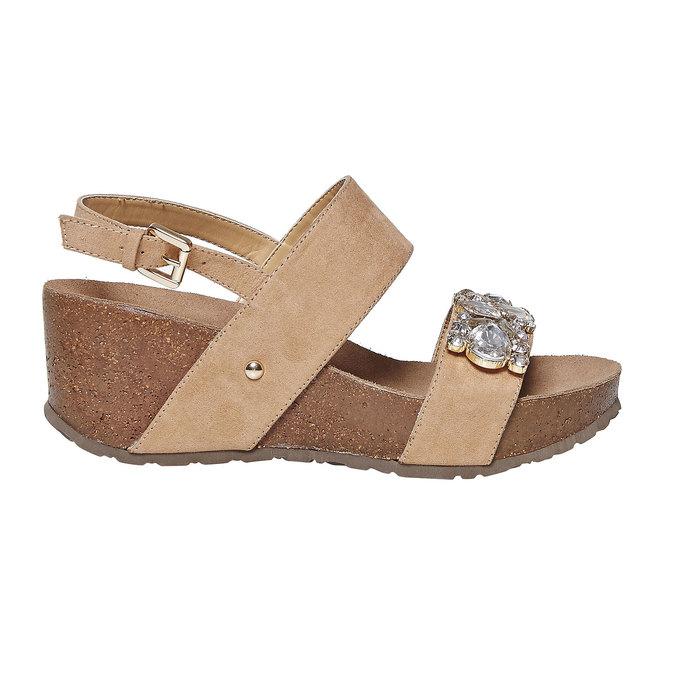Sandale à plateforme avec petites pierres bata, Jaune, 669-8209 - 15